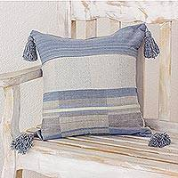 Cotton cushion cover, 'Chic Comfort' - Handwoven Tasseled Cotton Cushion Cover from Guatemala