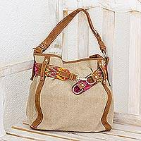 Leather accent cotton tote, 'Ixcaco Traditions' - Handwoven Leather Accent Cotton Tote from Guatemala