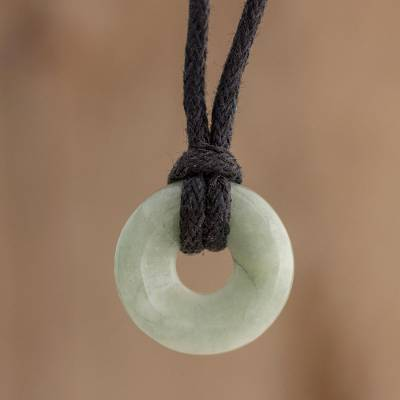 Jade pendant necklace, 'Circle of Love in Apple Green' - Apple Green Circular Jade Pendant Necklace from Guatemala
