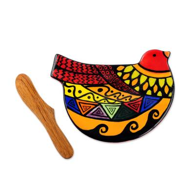 Handcrafted peace theme ceramic canape plate and spreader for Canape spreaders