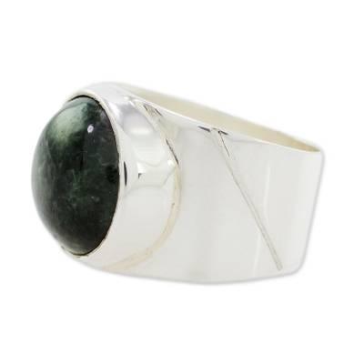 Jade dome ring, 'Living Energy in Dark Green' - Jade and Sterling Silver Dome Ring from Guatemala