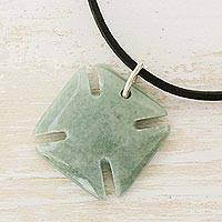 Men's jade pendant necklace, 'Pattee Cross in Light Green' - Men's Jade Cross Necklace in Light Green from Guatemala