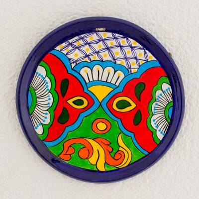 Ceramic decorative plate, 'Flowers of Yore' - Hand-Painted Floral Ceramic Decorative Plate from Guatemala