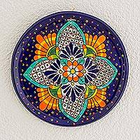 Ceramic decorative plate, 'Mystical Flowers' - Floral Ceramic Decorative Plate from Guatemala