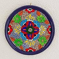 Ceramic decorative plate, 'Striking Beauty' - Floral Motif Ceramic Decorative Plate from Guatemala