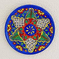 Ceramic decorative plate, 'Floral Combination' - Floral Colorful Ceramic Decorative Plate from Guatemala