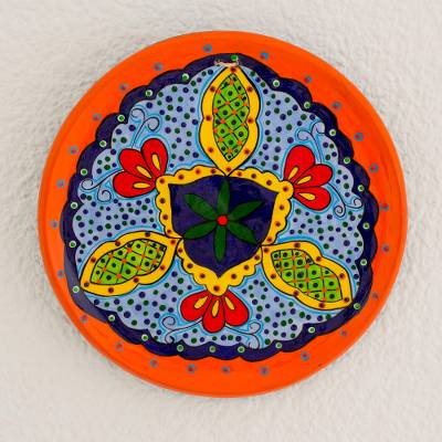 Ceramic decorative plate, 'Histories of Yesteryear' - Multicolored Ceramic Decorative Plate from Guatemala
