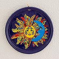 Ceramic decorative plate, 'Eclipsed By Love' - Sun and Moon Ceramic Decorative Plate from Guatemala