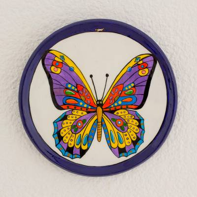 Ceramic decorative plate, 'Free Butterfly' - Colorful Butterfly Ceramic Decorative Plate from Guatemala