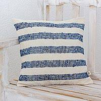Cotton blend cushion cover, 'Heaven Sent' - Guatemalan Handwoven Blue Striped Cotton Blend Cushion Cover