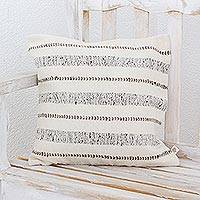 Wool cushion cover, 'Comfort in Grey' - Wool Handwoven Grey Striped Cushion Cover from Guatemala