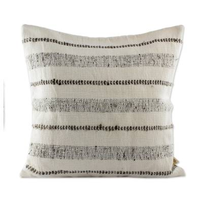 Guatemalan Taupe Striped Backstrap Woven Wool Cushion Cover