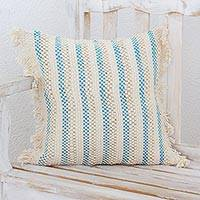 Cotton blend cushion cover, 'Wind and Water' - Hand Woven Cotton Blend Cushion Cover from Guatemala