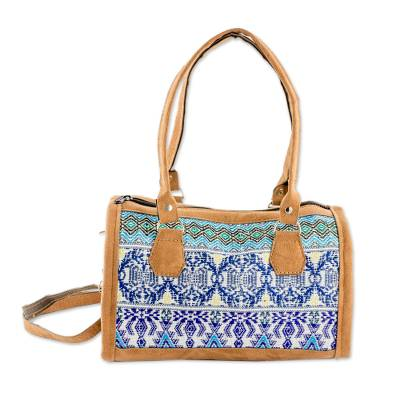 Novica Leather accent embroidered cotton baguette, Colorful Guatemalan
