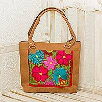 Embroidered cotton accent tote, 'Floral Vibrance' - Colorful Embroidered Cotton Accent Tote from Guatemala