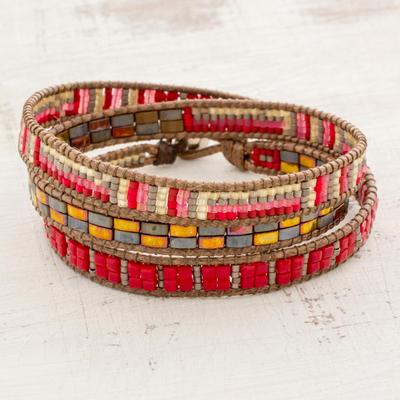 Glass beaded wrap bracelet, 'Fiery Sizzle' - Red and Multi-Color Glass Beaded Wrap Bracelet