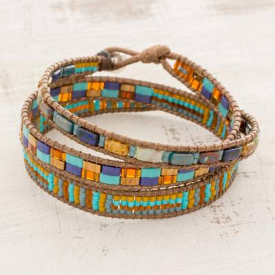 Glass beaded wrap bracelet, 'Abundant Reef' - Colorful Glass Beaded Wrap Bracelet from Guatemala