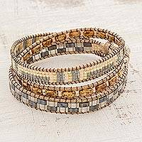 Glass beaded wrap bracelet, 'Desert Treasure' - Neutral Tones Glass Beaded Wrap Bracelet