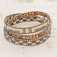 Glass beaded wrap bracelet,