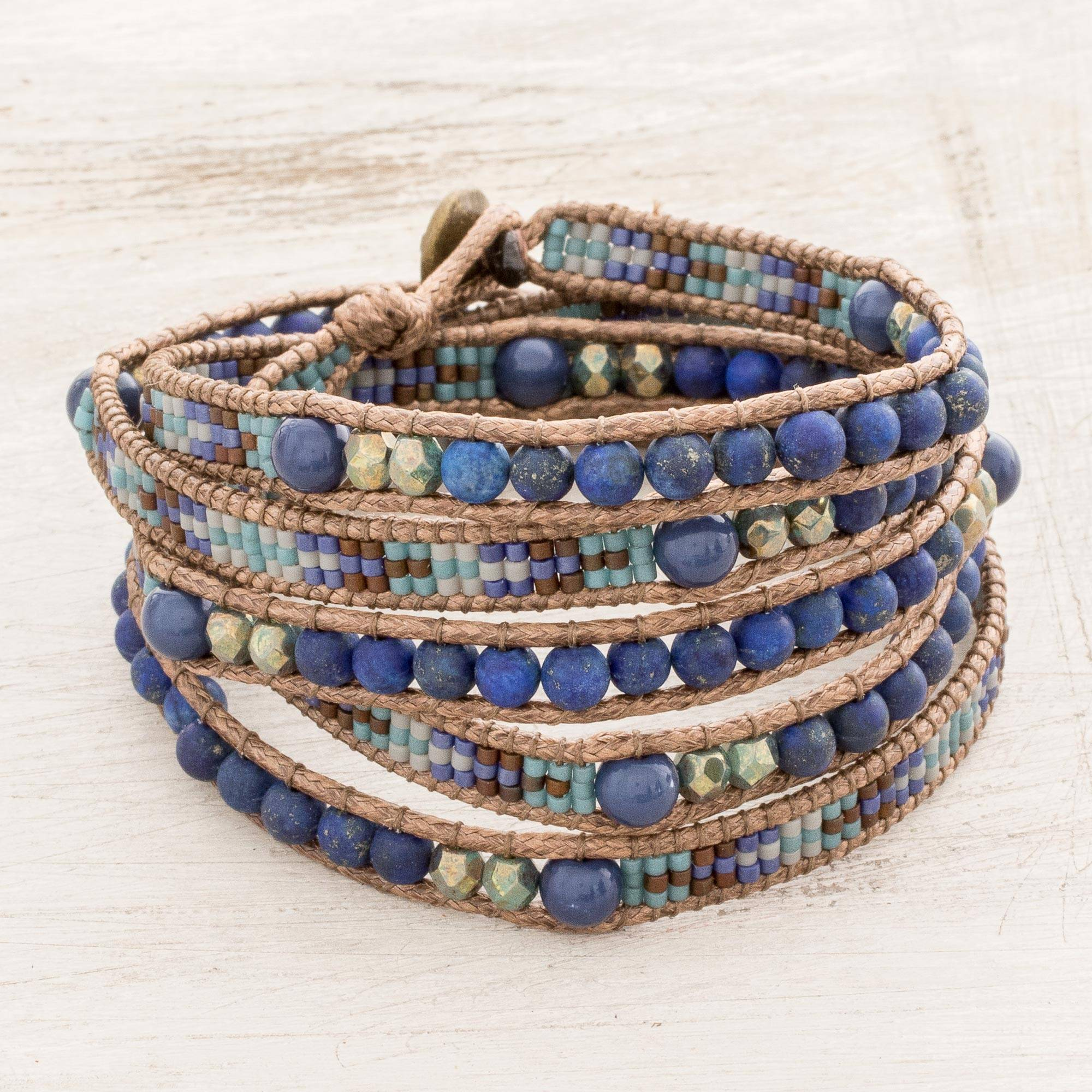 Blue And Turquoise Lapis Lazuli Gl Bead Wrap Bracelet Lake Treasure