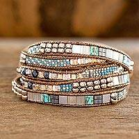 Featured review for Glass beaded wrap bracelet, Beachcomber