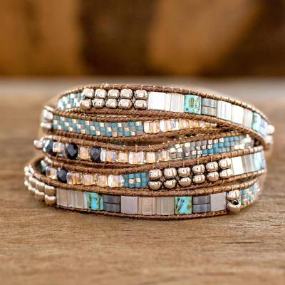 Glass beaded wrap bracelet, 'Beachcomber' - Turquoise and Beige Guatemalan Glass Beaded Wrap Bracelet