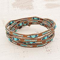 Glass beaded wrap bracelet, 'Lakeside Dawn' - Blue Glass Beaded Wrap Bracelet from Guatemala