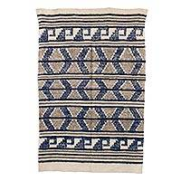 Wool area rug, 'Mountain Cabin' - Brown and Blue Wool Area Rug