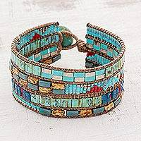 Glass beaded wristband bracelet, 'Sunlit Wave' - Turquoise and Brown Glass Wristband Bracelet from Guatemala
