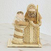 Natural fiber nativity scene, 'Family Togetherness' - Guatemalan Hand Crafted Agave Jute and Palm Nativity Scene