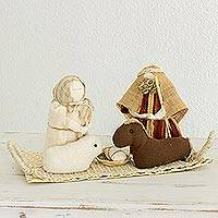 Cotton and natural fiber nativity scene, 'The Light of Bethlehem' - Handmade Natural Fiber Nativity Scene from Guatemala