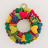 Cotton wreath, 'Circle of Love' - Handcrafted Multicolored Cotton Heart Wreath from Guatemala