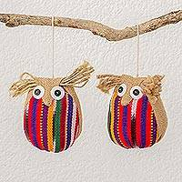 Cotton and jute ornaments, 'Messengers of Love' (pair) - Guatemalan Artisan Crafted Cotton and Jute Ornaments (pair)
