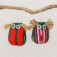 Cotton ornaments, 'Wisdom and Love' (pair) - Guatemalan Multicolored Green Cotton Owl Ornaments (pair)