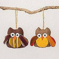 Cotton ornaments, 'Autumn Owls' (pair) - Handmade Cotton Owl Ornaments from Guatemala (pair)