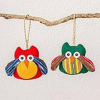 Cotton ornaments, 'Multicolored Flight' (pair) - Guatemalan Multicolored Cotton Owl Ornaments (Pair)