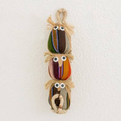 Jute, agave and cotton wall hanging, 'Wise Owls in Beige' - Jute Cotton Agave Owl Wall Hanging from Guatemala