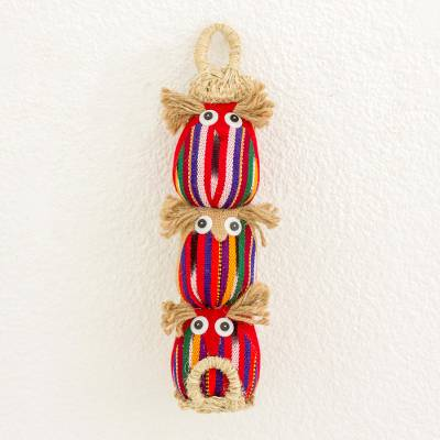 Jute, agave and cotton wall hanging, 'Wise Owls in Red' - Handmade Guatemalan Red Jute Cotton Agave Owl Wall Hanging