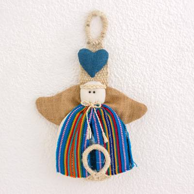 Cotton and agave wall hanging, 'Morning Angel' - Guatemalan Blue Cotton and Agave Angel Wall Hanging