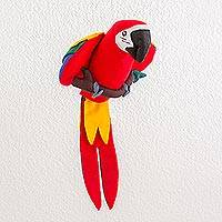 Polyester decorative doll, 'Mayan Scarlet Macaw' - Guatamalan Handmade Hanging Scarlet Macaw Decorative Doll