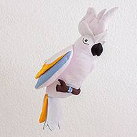 Polyester decorative doll, 'Celestial Cockatoo' - Guatemalan Handmade White Cockatoo Hanging Decorative Doll