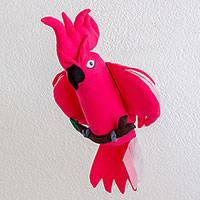 Polyester decorative doll, 'Cheerful Cockatoo' - Guatemalan Handmade Pink Cockatoo Hanging Decorative Doll