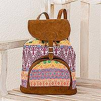 Cotton backpack, 'Vibrant Summer' - Guatemalan Handcrafted Cotton and Faux Suede Trim Backpack