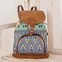 Cotton backpack, 'Vibrant Spring' - Guatemalan Artisan Crafted Cotton Faux Suede Trim Backpack