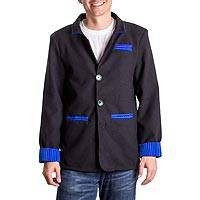 Men's blazer, 'Accents' - Black Single-Breasted Men's Blazer Trimmed in Blue and Green