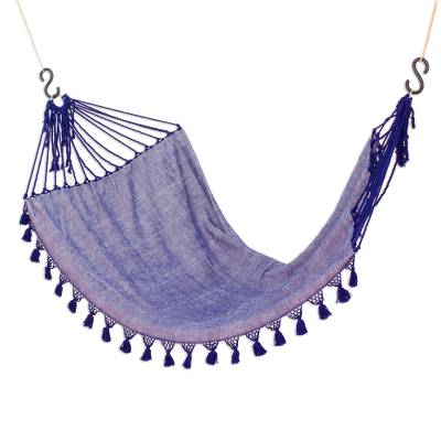 Cotton hammock, 'Jacaranda Flowers' (single) - Handwoven Cotton Single Hammock in Sapphire from Guatemala