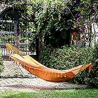Cotton hammock, 'Seaside Sunrise' (single) - Handwoven Cotton Single Hammock in Sunrise from Guatemala