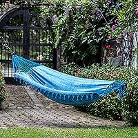 Cotton hammock, 'Over the Waves' (single) - Handwoven Cotton Single Hammock in Azure from Guatemala