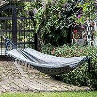 Cotton hammock, 'Stellar Night' (single) - Handwoven Cotton Single Hammock in Graphite from Guatemala