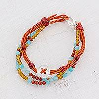 Fine silver and jasper beaded bracelet, 'Tranquil Country' - Fine Silver and Jasper Beaded Bracelet from Guatemala